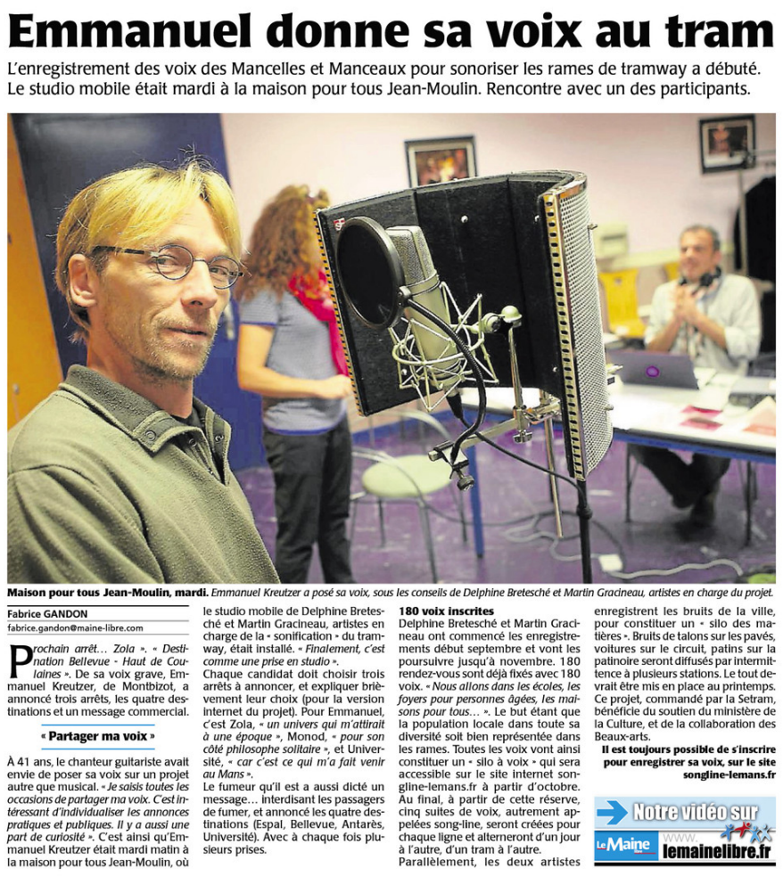 Le Maine Libre. Article du 25/09/2014